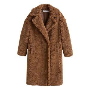 Faux sterling oversized teddy coat